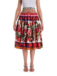 Dolce And Gabbana Poplin Printed Full Skirt Red Caretto
