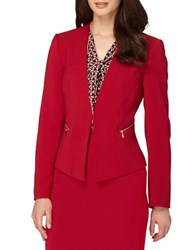 Tahari By Arthur S. Levine Solid Open Front Jacket Red