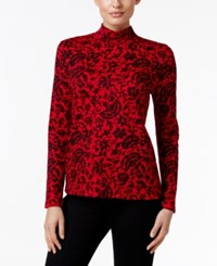 Karen Scott Printed Mock Neck Top Only At Macy's New Red Amore