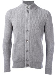 Barba Ribbed Knit Buttoned Cardigan Grey