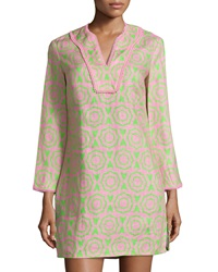 Sail To Sable Printed Contrast Trim Long Sleeve Dress Cotton Candy Green Flash