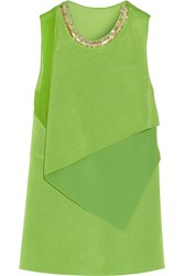 3.1 Phillip Lim Embellished Crepe And Silk Chiffon Top Green