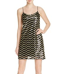 Vero Moda Sequined Chevron Shift Dress Black Gold