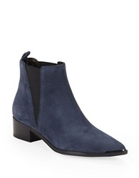 Marc Fisher Yale Croco Print Leather Boots Navy Blue
