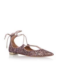 Aquazzura Christy Glitter Lace Up Flats Female Pink