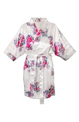 Women's Cathy's Concepts Floral Satin Robe White J
