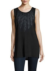 Haute Hippie Feather Printed Tank Top Black Heather