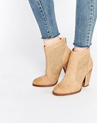 Call It Spring Rasen Perforated Heeled Ankle Boots Beige