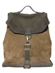 Maison Martin Margiela Suede And Cotton Canvas Military Backpack