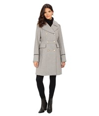 Vince Camuto Double Breasted Long Military Wool Coat J8201 Light Grey Women's Coat Gray