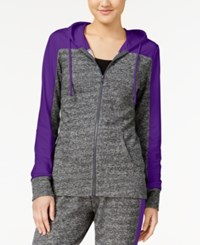 Material Girl Active Juniors' French Terry Colorblocked Hoodie Only At Macy's Purple Party