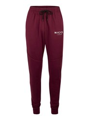 Nicce Red Burgundy Knee Panel Logo Joggers