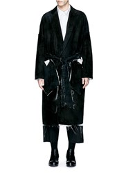 Sulvam Raw Edge Lining Belted Suede Coat Black