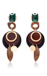 Marni Wood Drop Earrings Back Brown Green