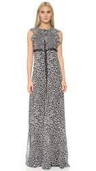 Giamba Sleeveless Gown Black White