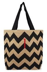 Cathy's Concepts Personalized Chevron Print Jute Tote Grey Black Natural I