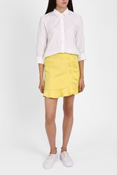 Paul Joe Sister Women S Button Ruffle Wrap Skirt Boutique1 Yellow