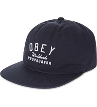 Obey Worldwide Propaganda Logo Cotton Snapback Navy