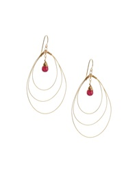 Rafia 3 Hoop Teardrop Earrings W Ruby Center Golden