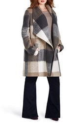 Plus Size Women's Mynt 1792 Plaid Exaggerated Shawl Collar Coat Brown Grey Box Plaid