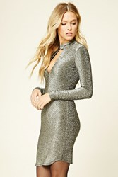Forever 21 Contemporary Glitter Knit Dress Black Silver