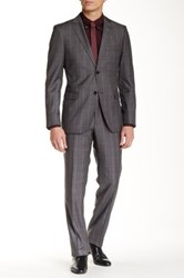 Zanetti Gray Plaid Two Button Notch Lapel Slim Fit Wool Suit
