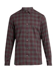 Vince Gingham Long Sleeved Cotton Shirt Red Multi