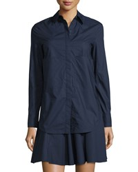 Derek Lam 10 Crosby Long Sleeve Layered Cotton Shirtdress Midnight Black