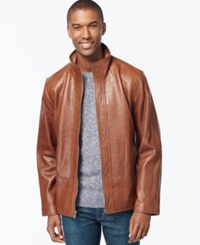 Marc New York Zip Front Leather Jacket Almond