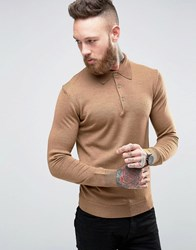 Farah Knitted Polo Shirt In Merino Wool Slim Fit Camel Camel Tan