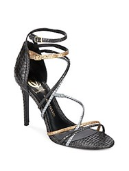 Vince Camuto Marlie Strappy Snake Embossed Metallic Leather Pumps Oxford