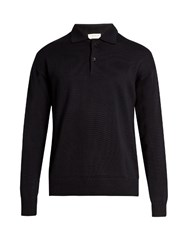 Tomorrowland Long Sleeved Wool And Mohair Blend Polo Shirt Navy