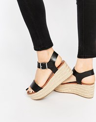 Steve Madden Surfaa Black Espadrille Wedge Sandals Black
