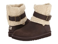 Ugg Cassidee Chocolate Leather Knit Women's Pull On Boots Brown
