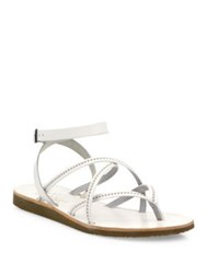 Joie Oda Strappy Studded Leather Flat Sandals Black Silver White Silver Dark Brown