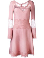 Ermanno Scervino Lace Trim Dress Pink And Purple