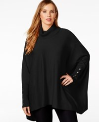Alfani Plus Size Turtleneck Poncho Sweater Only At Macy's Deep Black