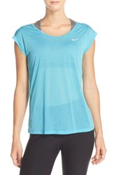 Nike Women's 'Cool Breeze' Burnout Dri Fit Tee Omega Blue Reflective Silver