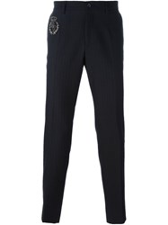 Dolce And Gabbana Crown Embroidered Trousers Black