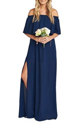 Show Me Your Mumu Women's 'Hacienda' Convertible Off The Shoulder A Line Gown Rich Navy Crisp