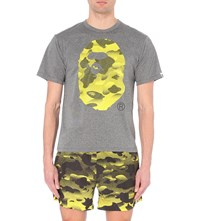 A Bathing Ape Monkey Camo Print Jersey T Shirt Black