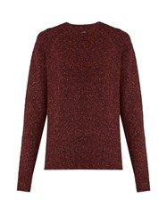 Joseph Round Neck Long Sleeved Tweed Effect Sweater Burgundy