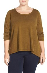 Plus Size Women's Eileen Fisher Bateau Neck Boxy Merino Jersey Sweater Brown