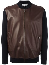 Salvatore Ferragamo Leather Front Bomber Jacket Blue