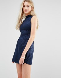 Love And Other Things Faux Suede High Neck Shift Dress Blue