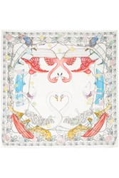 Swash Printed Linen And Silk Blend Scarf White