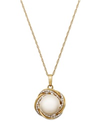 Macy's Cultured Freshwater Pearl 10Mm And Diamond 1 10 Ct. T.W. Pendant Necklace In 14K Gold