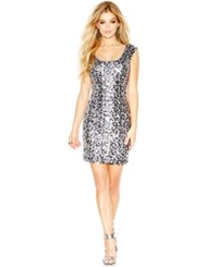 Guess Cap Sleeve Sequin Sheath Silver
