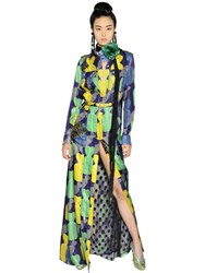Lanvin Printed Lurex And Silk Georgette Dress