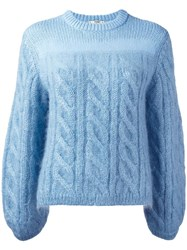 Fendi Cable Knit Jumper Blue